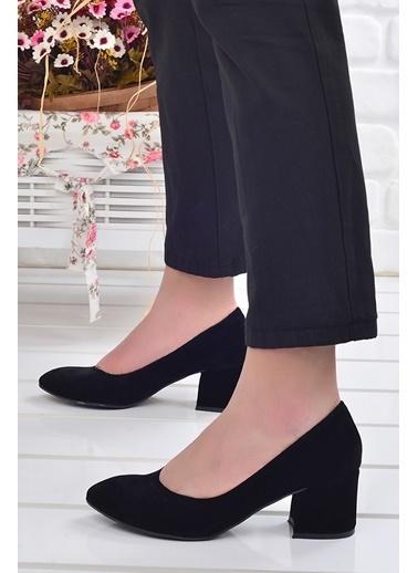 Ayakland Ayakland 97544-312 Süet 5 Cm Topuklu Bayan Ayakkabı Siyah